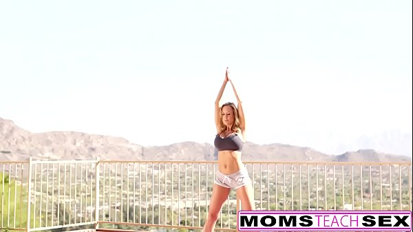 Mom and son, Yoga hot